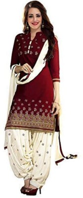 pd fashion Cotton Embroidered Salwar Suit Dupatta & Waistcoat Material