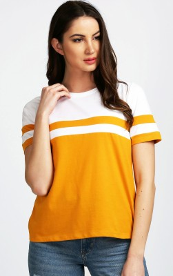 Aelomart Casual Half Sleeve Striped Women Yellow, White Top