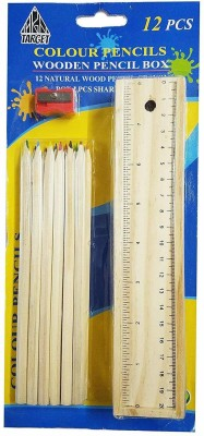 Golden Feather School Set Multicolor Wooden Pencil Set | Box with 12 Different Crayon Colour Pencils | Scale (Ruler) and Sharpner School Set