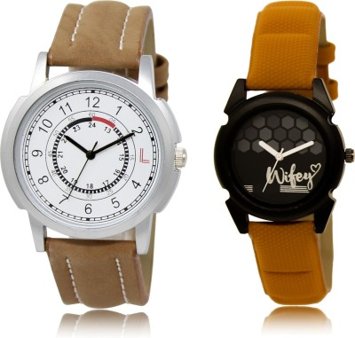 FASHION POOL NEW ULTIMATE FAST SELLING ROUND ANALOG DIAL '' WHITE BROWN & BLACK '' COUPLE COMBO WATCH. METAL & LEATHER BELT NEW ARRIVAL FAST SELLING TRACK DESIGNER WATCH FOR FESTIVAL_PARTY_PROFESSIONAL_VALENTINE_BIRTHDAY GIFT SPECIAL COMBO WATCH FOR MEN_WOMEN Analog Watch  - For Couple