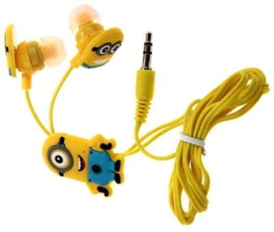 EWELL Plastic Minions Printed In-Ear Stereo Dynamic Wired Headphones Wired Headset with Mic