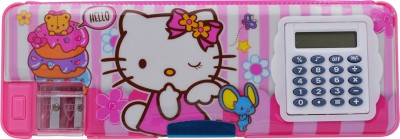 Minaar Dual Side Magnetic Multifunctional Box With Calculator For Kids , Hello Kitty Print With Dual Sharpener Art Plastic Pencil Box