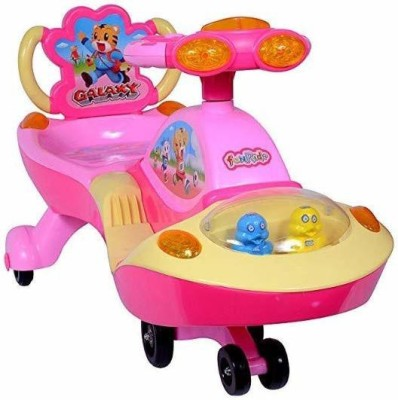 Childstar WITH DEVICE Baby Galaxy Twist Swing Magic Car with Wheels Musical LED Lights (Pink) Rattle