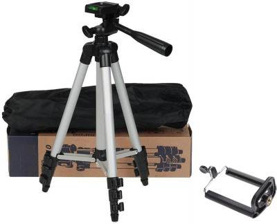 BUY SURETY Tripod-3110 Portable Adjustable Aluminum High Quality Lightweight Camera Stand With Three-Dimensional Head & Quick Release Plate For Video Cameras, Tripod With Mobile Clip Holder Mobile Holder