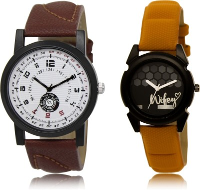 FASHION POOL BROWN LEATHER BELT ANALOGUE DIAL WATCH COUPLE COMBO WATCH WITH BROWN WIFEY DESIGNER BELT COUPLE COMBO WATCH METAL & LEATHER BELT NEW ARRIVAL FAST SELLING TRACK DESIGNER WATCH FOR FESTIVAL_PARTY_PROFESSIONAL_VALENTINE_BIRTHDAY GIFT SPECIAL COMBO WATCH FOR MEN_WOMEN Analog Watch  - For Couple