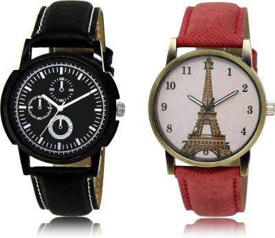 FASHION POOL BLACK CHRONO DESIGNER LEATHER BELT WATCH COUPLE COMBO WITH RED PARIS DESIGNER LEATHER BELT WATCH FOR LADIES METAL & LEATHER BELT NEW ARRIVAL FAST SELLING TRACK DESIGNER WATCH FOR FESTIVAL_PARTY_PROFESSIONAL_VALENTINE_BIRTHDAY GIFT SPECIAL COMBO WATCH FOR MEN_WOMEN Analog Watch  - For Couple