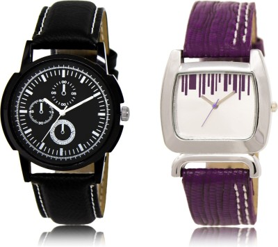 FASHION POOL BLACK CHRONO DESIGNER LATHER BELT WATCH FOR BOYS COUPLE COMBO WATCH WITH SQUARE PURPLE DESIGNER LEATHER BELT WATCH FOR GIRLS METAL & LEATHER BELT NEW ARRIVAL FAST SELLING TRACK DESIGNER WATCH FOR FESTIVAL_PARTY_PROFESSIONAL_VALENTINE_BIRTHDAY GIFT SPECIAL COMBO WATCH FOR MEN_WOMEN Analog Watch  - For Couple