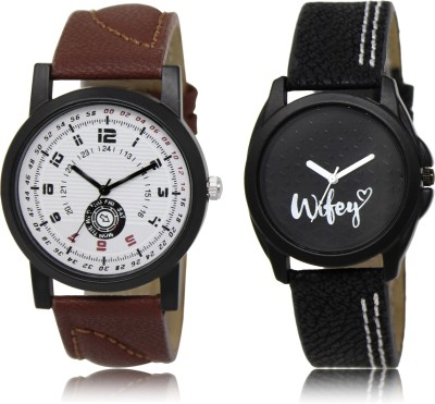 FASHION POOL BROWN PROFESSIONAL ANALOGUE DIAL DESIGNER WATCH WITH BLACK WIFEY DESIGNER ANALOGUE DIAL COUPLE COMBO WATCH METAL & LEATHER BELT NEW ARRIVAL FAST SELLING TRACK DESIGNER WATCH FOR FESTIVAL_PARTY_PROFESSIONAL_VALENTINE_BIRTHDAY GIFT SPECIAL COMBO WATCH FOR MEN_WOMEN Analog Watch  - For Couple