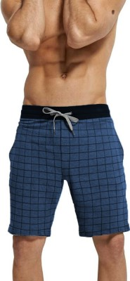 Tripr Checkered Men Blue Regular Shorts