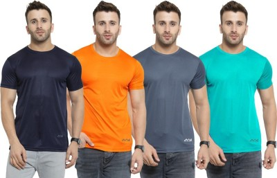 AWG Solid Men Round or Crew Multicolor T-Shirt