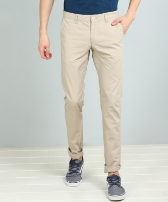 Indian Terrain Slim Fit Men Cream Trousers