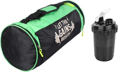 5 O' Clock Sports Combo Of Leatherite Green Gym Bag , and Black SHAKER 750ML Gym & Fitness Kit Gym Gym & Fitness Kit