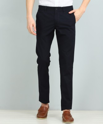 Indian Terrain Slim Fit Men Black Trousers