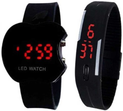 SD SHOP boys watch Beautifull 2 stylish kids Watch new combo apple black+rubber led - For Black stylish kids . boys Kids Watch Highly demanded Digital Watch  - For Boys