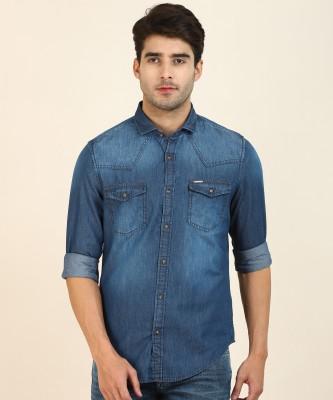 Peter England University Men Solid Formal Blue Shirt