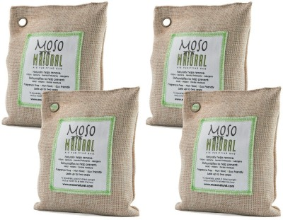 Moso Natural Air Purifying Bags Bamboo Charcoal Air Freshener, Deodorizer, Odor Eliminator & Odor Absorber for Cars and Closets (4x200g) Natural Color Portable Room Air Purifier