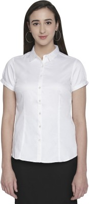 Annabelle by Pantaloons Women Solid Formal White Shirt
