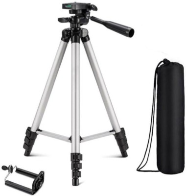 snowbudy Portable Tripod-3110 Extendable Camera and Mobile Selfie Stand With Three-Way Head & Quick Release Plate For Digital Cameras and mobile clip holder for Mobiles & Smartphones Tripod