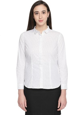 Annabelle by Pantaloons Women Printed Formal White Shirt