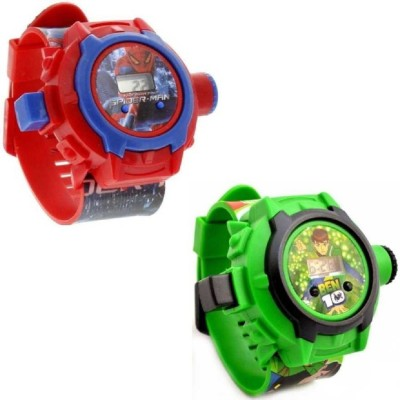 Rozti NEW AWESOME (PACK OF 2) BEN TEN+SPIDER BLACK FOR KIDS WITH THE BEST DEAL AND FAST SELLING Watch  - For Boys