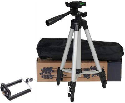 BUY SURETY Tripod-3110 Portable Adjustable Aluminum High Quality Lightweight Camera Stand With Three-Dimensional Head & Quick Release Plate For Video Cameras, Tripod With Mobile Clip Holder, Fully Flexible Mount Cum Tripod Mobile Holder