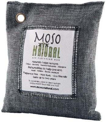 Moso Natural Air Purifying Bag Odor Eliminator for Cars, Closets, Bathrooms and Pet Areas 200g (Charcoal) Portable Room Air Purifier