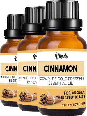 VIHADO Cinnamon Bath Essential Oil, Pure & Natural & Undiluted, for Hair & Skin Care,Face (18 ml) (Pack of 3)