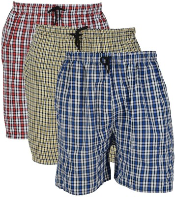 BIS Creations Self Design Men Red, Blue, Yellow Regular Shorts