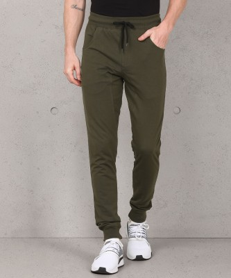 Metronaut Solid Men Dark Green Track Pants