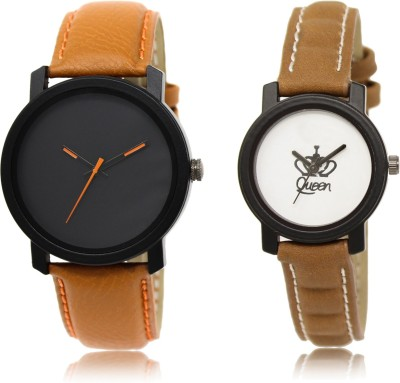 FASHION POOL NEW ARRIVAL FAST SELLING ROUND ANALOG DIAL '' BLACK_WHITE & BROWN '' COMBO WATCH FOR COUPLE METAL & LEATHER BELT NEW ARRIVAL FAST SELLING TRACK DESIGNER WATCH FOR FESTIVAL_PARTY_PROFESSIONAL_VALENTINE_BIRTHDAY GIFT SPECIAL COMBO WATCH FOR MEN_WOMEN Analog Watch  - For Couple