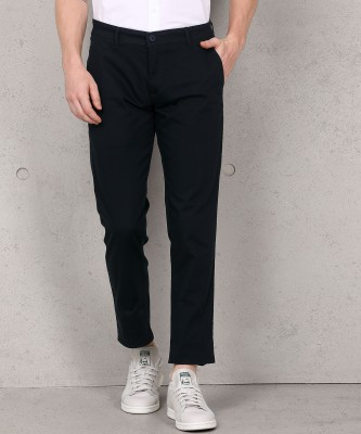 Metronaut Slim Fit Men Cotton Lycra Blend Black Trousers