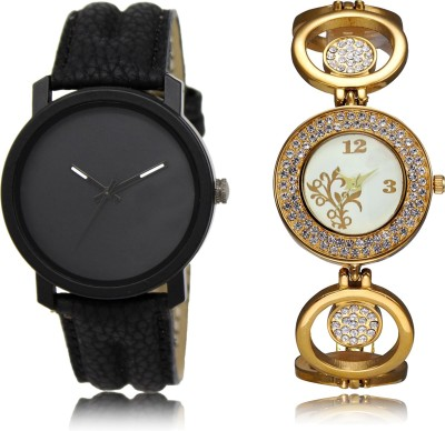 FASHION POOL NEW ARRIVAL FAST SELLING ROUND ANALOG DIAL '' BLACK_WHITE & GOLD'' COUPLE WATCH METAL & LEATHER BELT NEW ARRIVAL FAST SELLING TRACK DESIGNER WATCH FOR FESTIVAL_PARTY_PROFESSIONAL_VALENTINE_BIRTHDAY GIFT SPECIAL COMBO WATCH FOR MEN_WOMEN Analog Watch  - For Couple