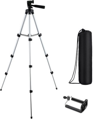 BUY SURETY Tripod-3110 Portable Adjustable Aluminum High Quality Lightweight Camera Stand With Three-Dimensional Head & Quick Release Plate For Video Cameras Foldable Tripod With Mobile Clip Holder Bracket Mobile Holder