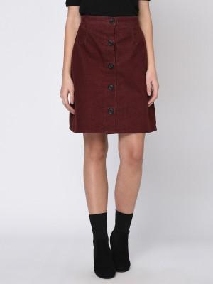 Rigo Self Design Women Regular Maroon Skirt