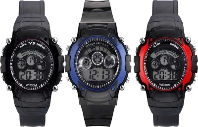 Nester New Stylish Digital Multicolor 7 lite Kids And Men 3 Combo NW-1244 Digital Watch  - For Boys