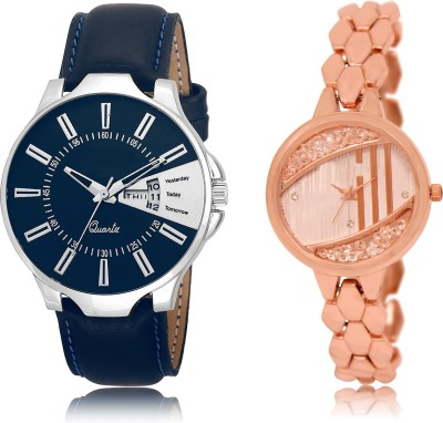 FASHION POOL BLUE_ ROSE GOLD DESIGNER TRACK FOR MEN_WOMEN METAL & LEATHER BELT NEW ARRIVAL FAST SELLING TRACK DESIGNER WATCH FOR FESTIVAL_PARTY_PROFESSIONAL_VALENTINE_BIRTHDAY GIFT SPECIAL COMBO WATCH FOR MEN_WOMEN Analog Watch  - For Couple