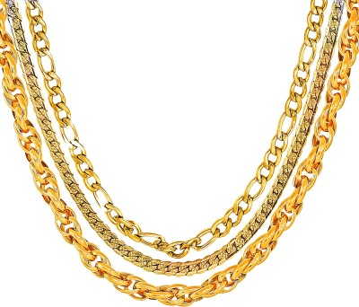 Divastri Golden Necklace Chains for Boys Mens Girls Women Stylish Combo Party Wear (3 PCS) Gold-plated Plated Stainless Steel Chain Set