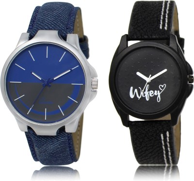 FASHION POOL BLACK & BLUE PROFESSIONAL DESIGNER TRACK FOR GIRL_BOY METAL & LEATHER BELT NEW ARRIVAL FAST SELLING TRACK DESIGNER WATCH FOR FESTIVAL_PARTY_PROFESSIONAL_VALENTINE_BIRTHDAY GIFT SPECIAL COMBO WATCH FOR MEN_WOMEN Analog Watch  - For Couple