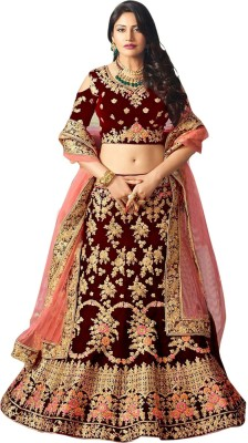 westcoaston Embroidered Semi Stitched Lehenga, Choli and Dupatta Set