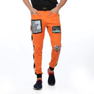 Yuvraah Self Design Men Orange Track Pants