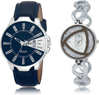 FASHION POOL LR_23_240 NEW ULTIMATE FAST SELLING ROUND ANALOGUE DIAL COUPLE COMBO METAL & LEATHER BELT NEW ARRIVAL FAST SELLING TRACK DESIGNER WATCH FOR FESTIVAL_PARTY_PROFESSIONAL_VALENTINE_BIRTHDAY GIFT SPECIAL COMBO WATCH FOR MEN_WOMEN Analog Watch  - For Couple