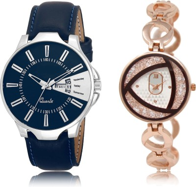 FASHION POOL LR_23_238 MOST STUNNING BLUE & ROSE GOLD LEATHER & METAL STRAP COUPLE COMBO WATCH METAL & LEATHER BELT NEW ARRIVAL FAST SELLING TRACK DESIGNER WATCH FOR FESTIVAL_PARTY_PROFESSIONAL_VALENTINE_BIRTHDAY GIFT SPECIAL COMBO WATCH FOR MEN_WOMEN Analog Watch  - For Couple