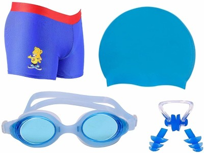THE MORNING PLAY Swimming Costume for Kids Boys 5 To 8 Years Swimming Trunk 1 Anti Fog Goggles Cap KIT BLUE Swimming Kit
