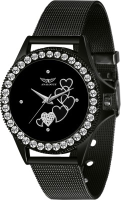 Analogue ANLG-502 Elegant Black Dimond-Studded Casado Collection Analog Watch  - For Women