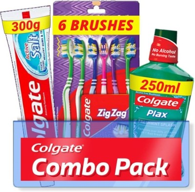 Colgate Active Salt Combo 6 Brushes, Mouthwash, Toothpaste
