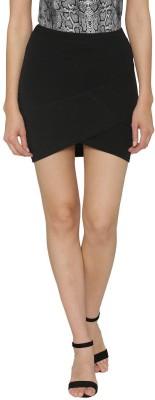 N-Gal Solid Women Tulip Black Skirt