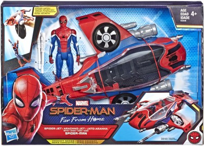 Marvel Spiderman - Far From Home - SpiderJet Vehicle Toy & 6