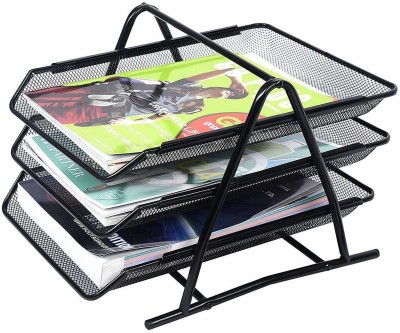 Techsun 3 Compartments Metal Mesh Document Tray For Office File Rack, Desk Organizer, Files/Papers/Letters/folders Holder, Black