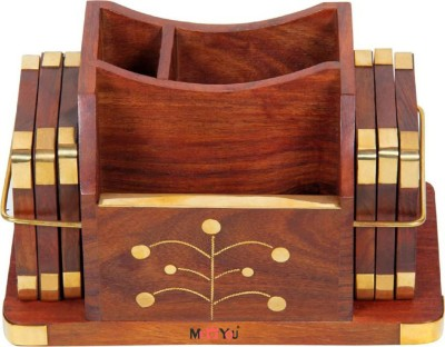 ME&YOU 3 Compartments Handmade Wooden Desk Organizer, Wooden Tea Coaster/ Coasters Set of 6, Pen Stand, Business Card Holder With Brass Work Office Table Accessories Office Set (Brown)