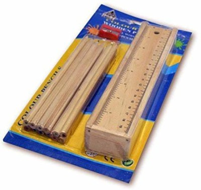 IJARP Designer Wooden Pencil Set Box with 12 Different Crayon Colour Pencils with Scale (Ruler) and Wooden Sharpener Pencil Box for Architect, Artist , Kids , Designer Case School Set